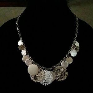 Gold tone Flower Medallion Necklace
